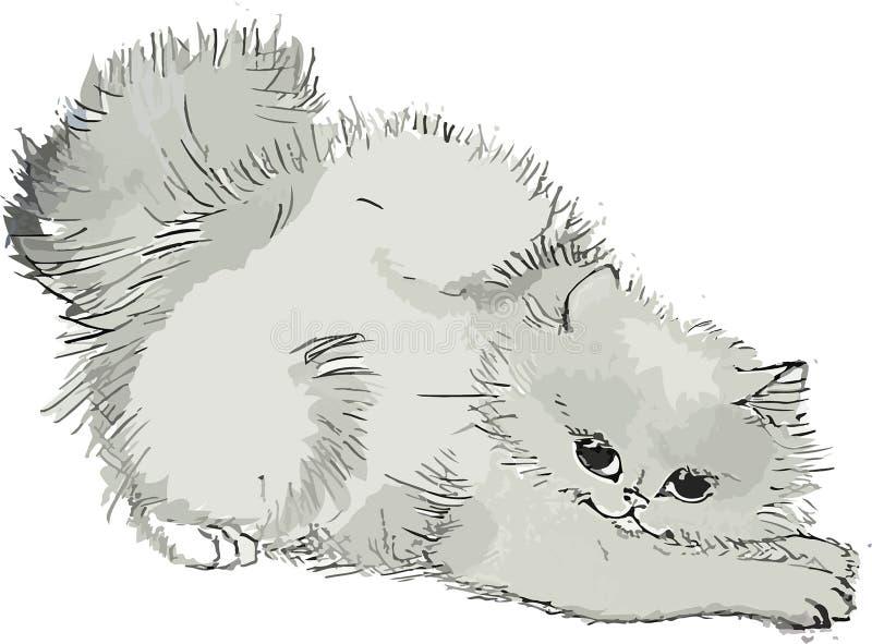 Nettes Kätzchen wölbte sich zurück, das ausgezogene lvpki, Schwarzweiss, flaumig, Illustration lizenzfreie abbildung