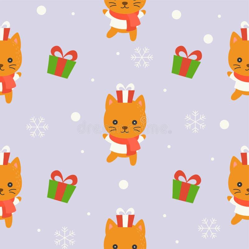 Nettes Kätzchenwinterthema, editable Linie Detail, Weihnachten-seamles stock abbildung