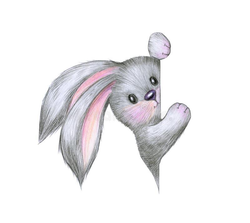 Nettes Kaninchen, das durch Bank sich versteckt lizenzfreie abbildung