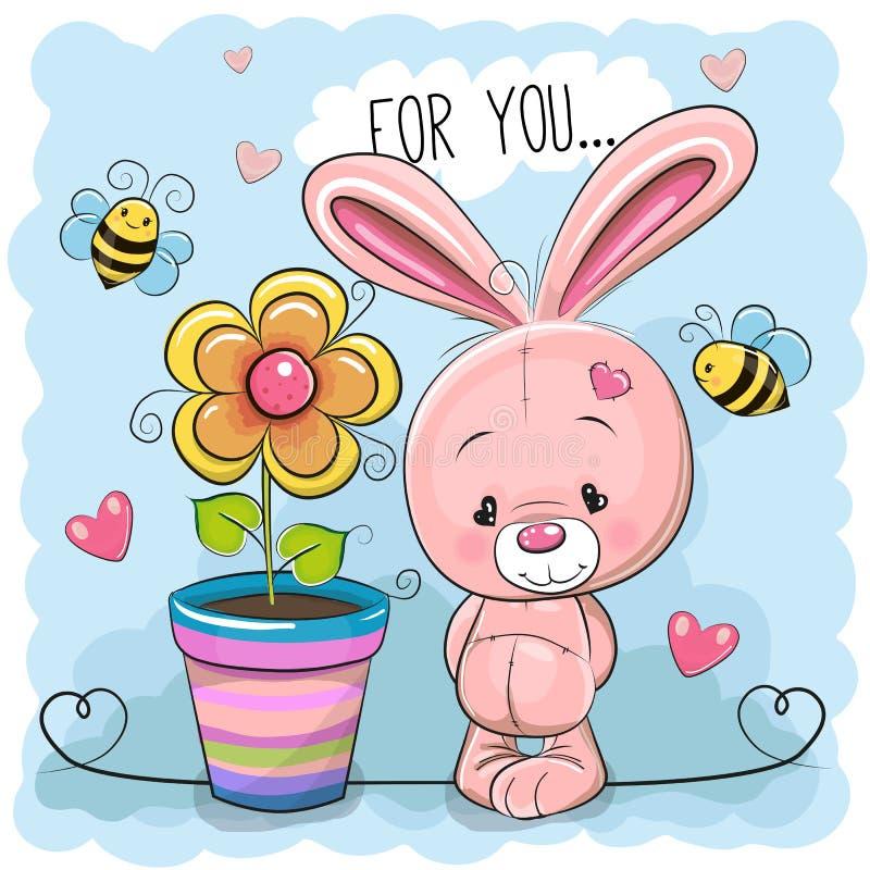 Nettes Kaninchen Karikatur der Grußkarte mit Blume stock abbildung