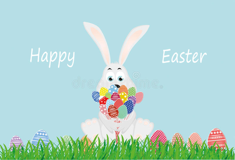 Nettes Kaninchen mit einem Blumenstrauß von Ostereiern Ein Hase mit Blumen sitzt stock abbildung