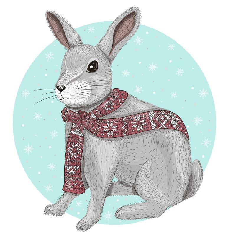 Nettes Kaninchen mit Schalwinterhintergrund lizenzfreie abbildung