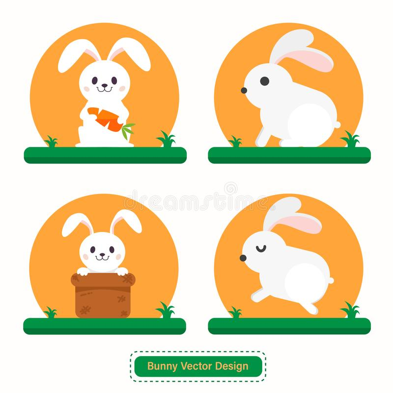 Nettes Kaninchen oder Bunny Vector für Ikonenschablonen oder Darstellungshintergrund vektor abbildung