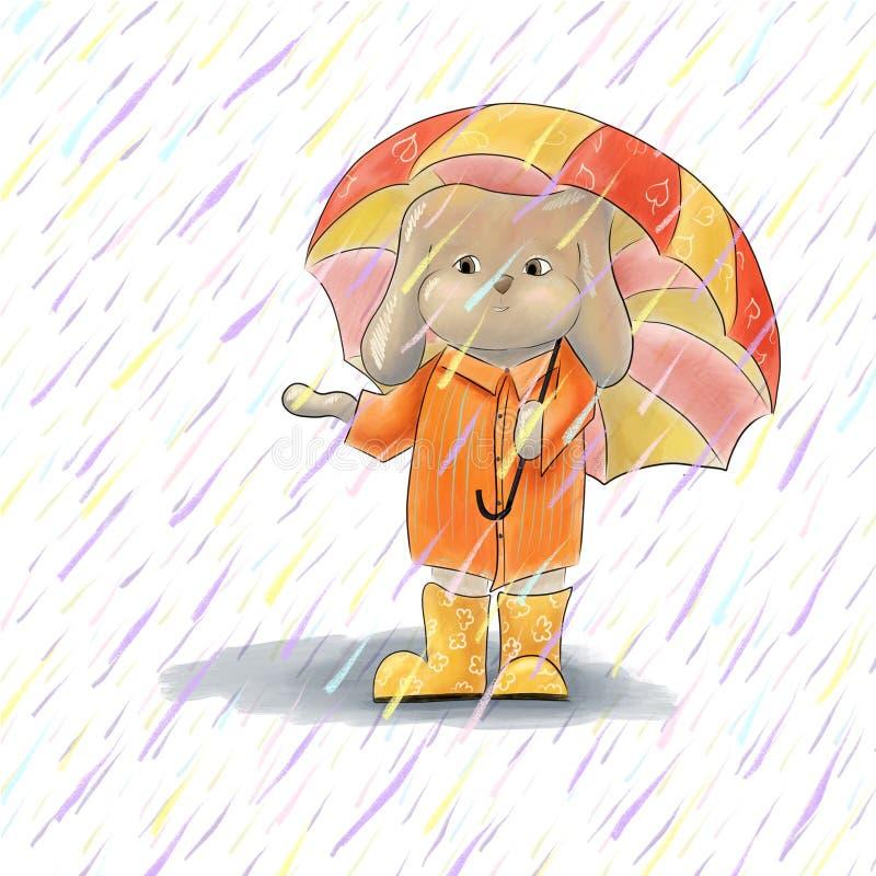 Nettes Kaninchen unter Regenschirm Illustration von Karikaturbraunhasen stock abbildung