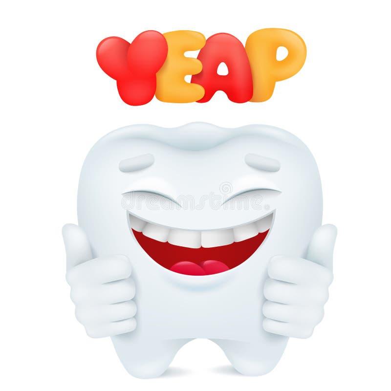 Nettes Karikatur Emoticon-Zahn carcter greift oben ab vektor abbildung