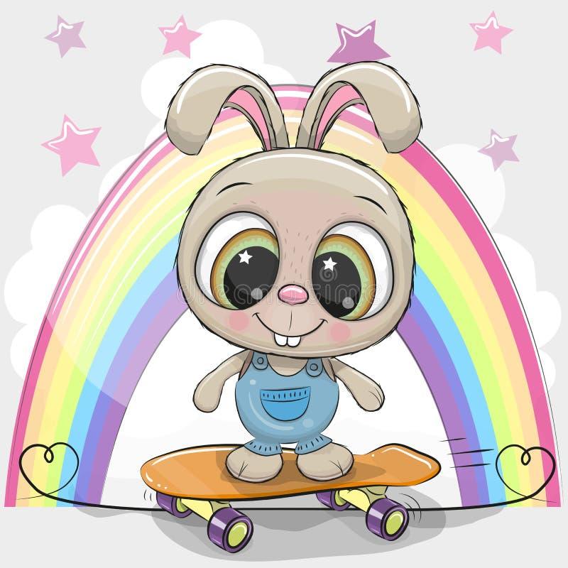 Nettes Karikatur-Kaninchen mit Skateboard vektor abbildung