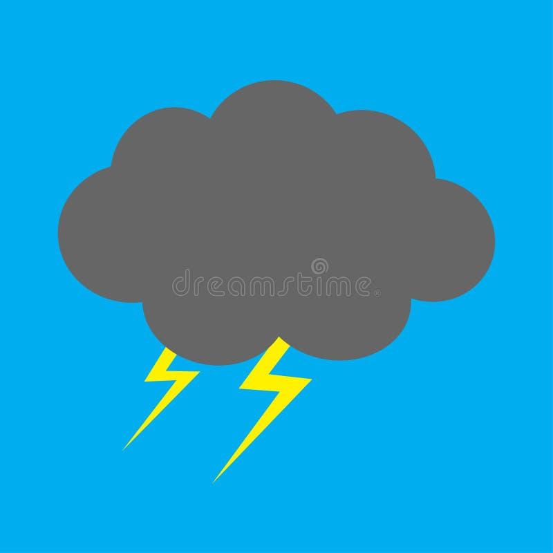 Nettes Karikatur kawaii dunkle Wolke mit Blitz Sturmblitz Getrennt Hintergrund des blauen Himmels Babycharaktersammlung lustig vektor abbildung