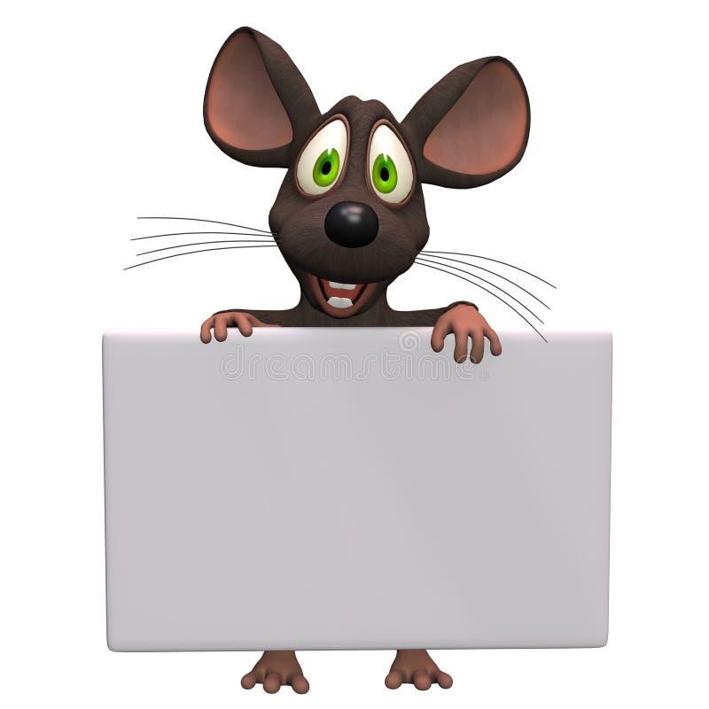 Nettes Karikatur maus mit einem leeren Zeichen lizenzfreie abbildung