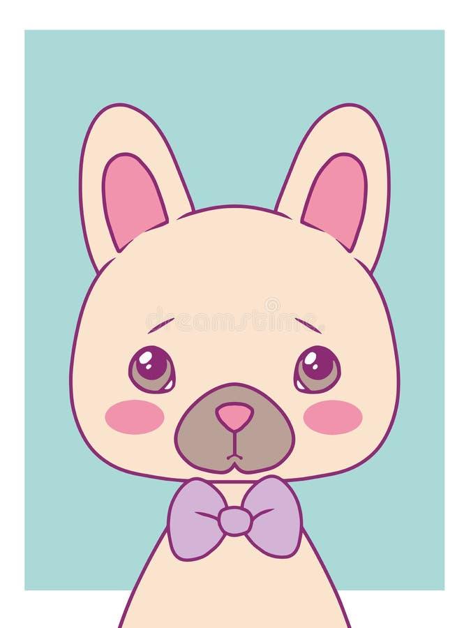 Nettes Karikaturartvektorkunst-Druckmotiv mit farbigem Pastellhund der französischen Bulldogge mit bowtie stock abbildung