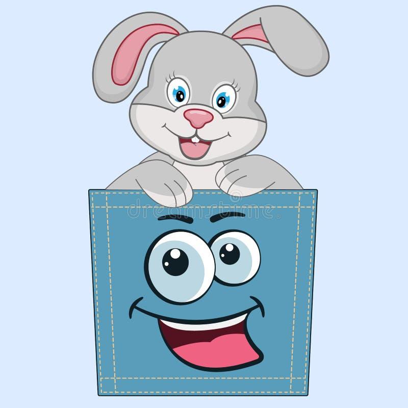 Nettes Karikaturbabyhäschen, das in einer Tasche und in einem lächelnden Spaß sitzt vektor abbildung