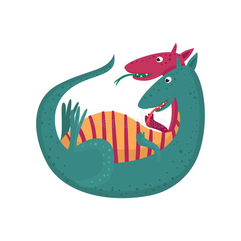 Nettes Karikaturdoppeltes ging Drachecharakter, mythisches Tier, Fantasiereptil-Vektor Illustration voran lizenzfreie abbildung