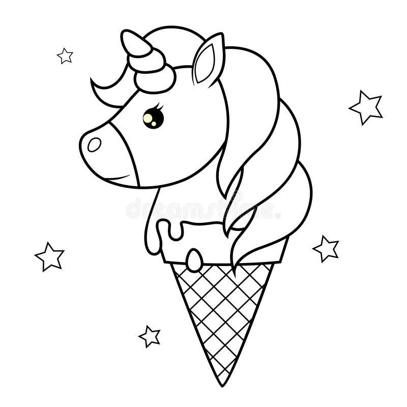 nettes Karikatureinhorn Erdbeere-, Schokoladen-, Vanille- und Pistazieeiscremekegel über weißem Hintergrund Schwarzweiss-Vektoril stock abbildung