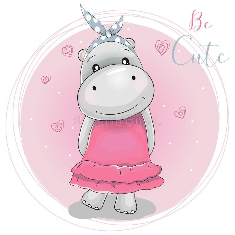 Nettes Karikaturflusspferdmädchen auf einem rosa Hintergrund stock abbildung