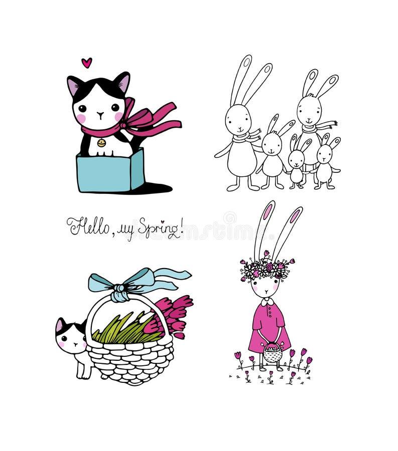 Nettes Karikaturhäschen und -kätzchen Lustige Hasen und Katze Glückliche Tiere Schnelle Skizzen Gezeichneter eigenhändig - Vektor vektor abbildung