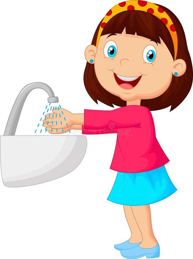 Nettes Karikaturmädchen, das ihre Hände wäscht lizenzfreie abbildung