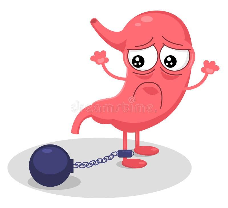 Nettes Karikaturmagencharakter ungesundes krankes emoji trauriges Gefühl Magenschwerekonzept Moderne Artzeichentrickfilm-figur de stock abbildung