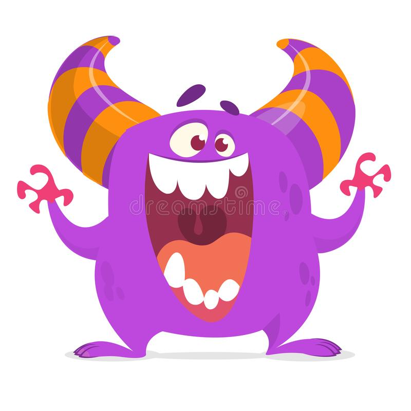 Nettes Karikaturmonster, das mit dem großen Mund voll von den Zähnen schreit Vektorillustration für Halloween-Feiertag clipart vektor abbildung