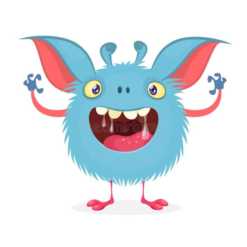 Nettes Karikaturmonster mit großem Lächeln voll des Speichels Lustiger Monstercharakter des Vektors stock abbildung
