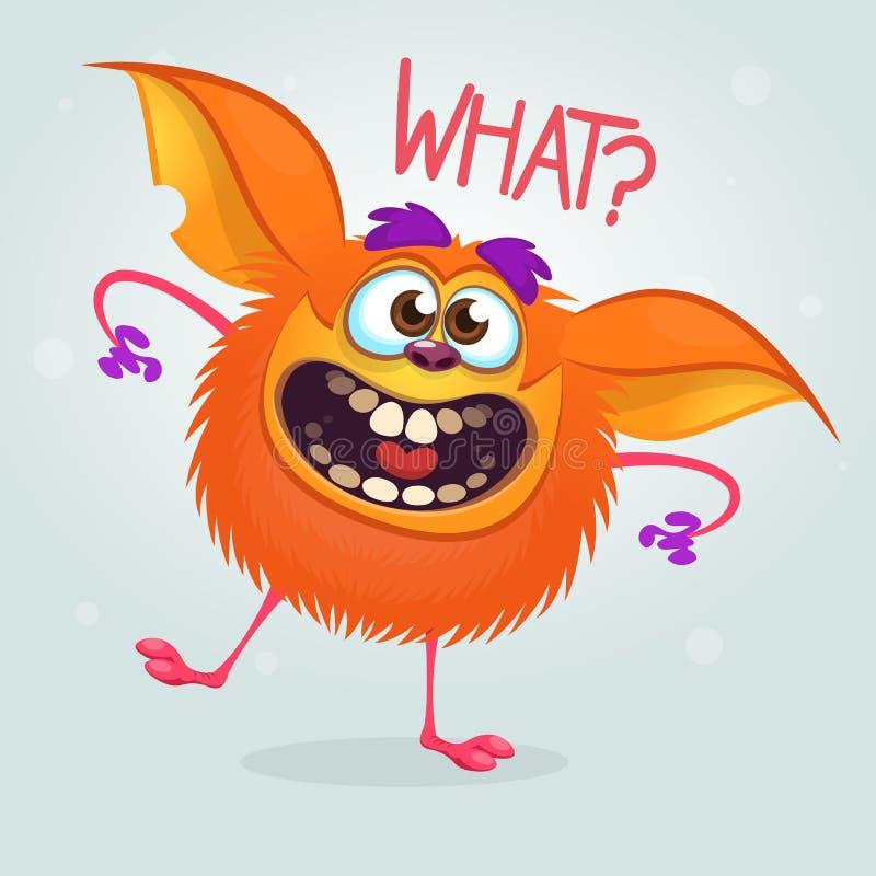 Nettes Karikaturorangenmonster Monster-Maskottchencharakter des Vektors fetter Halloween-Design für Parteidekoration, Druck oder  vektor abbildung