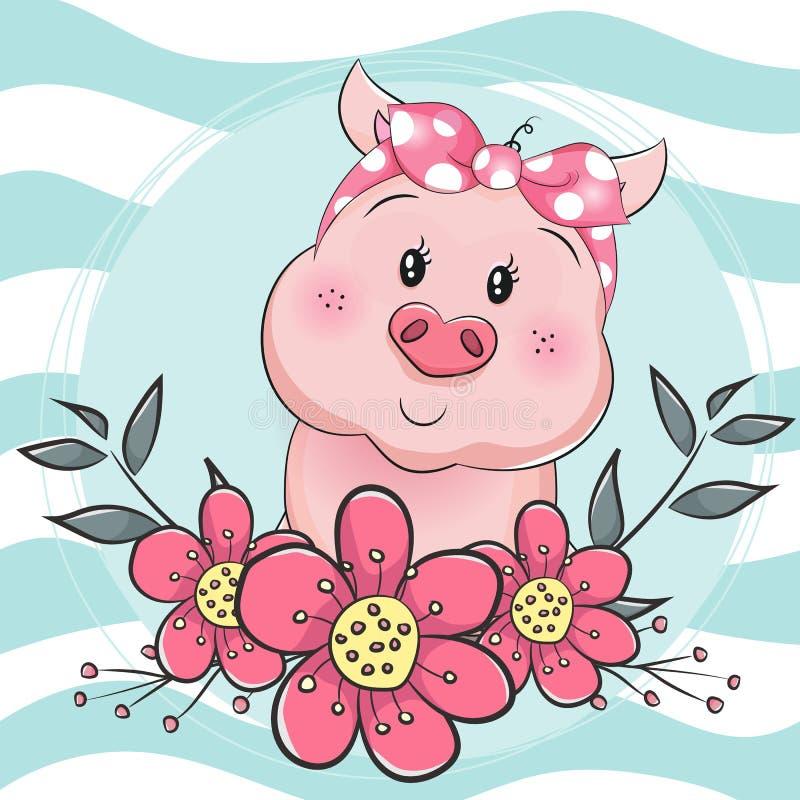 Nettes Karikaturschwein der Grußkarte mit Blume im blauen Hintergrund vektor abbildung