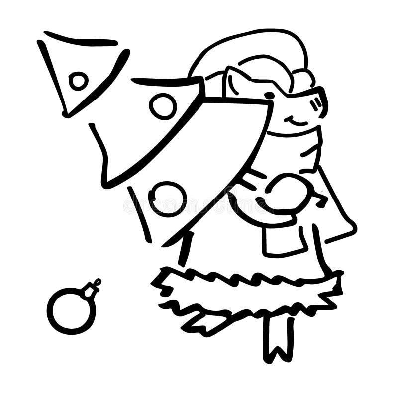 Nettes Karikaturvektorschwein mit Weihnachtsbaum lizenzfreie abbildung