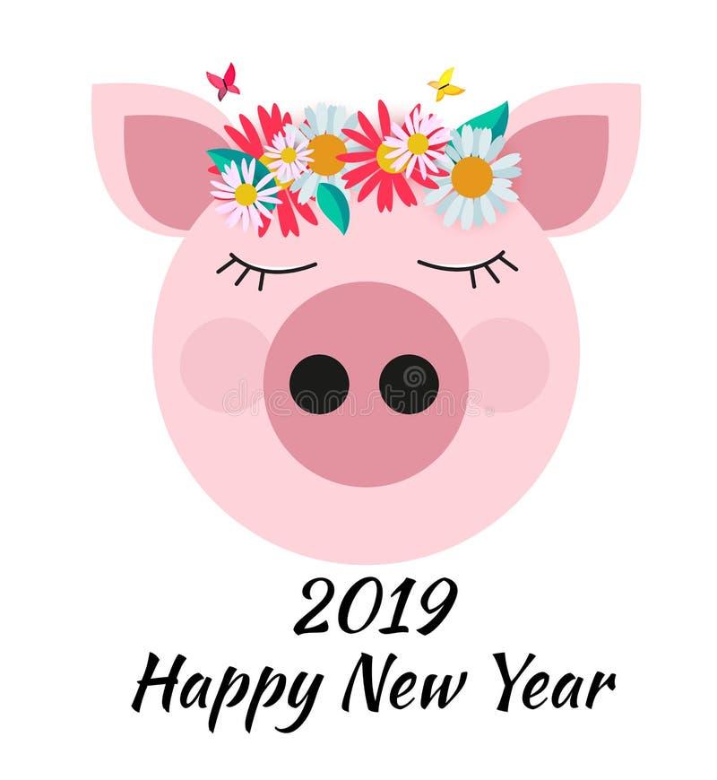 Nettes Kartendesign des guten Rutsch ins Neue Jahr 2019 mit Karikaturschwein Auch im corel abgehobenen Betrag stock abbildung