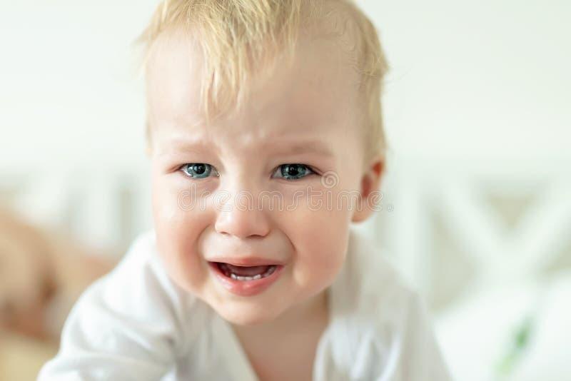Nettes kaukasisches blondes Kleinkindjungenportr?t, das zu Hause w?hrend des hysterischen Anfalls schreit Wenig Kindergef?hl trau lizenzfreie stockbilder