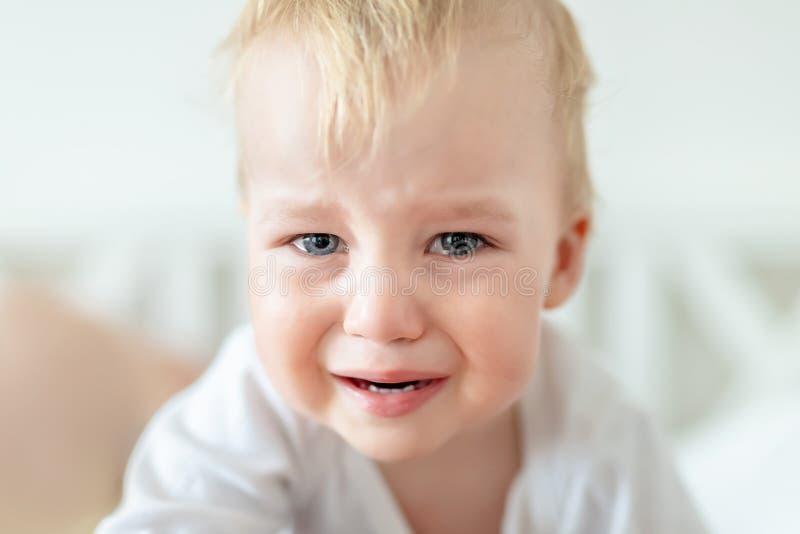 Nettes kaukasisches blondes Kleinkindjungenportr?t, das zu Hause w?hrend des hysterischen Anfalls schreit Wenig Kindergef?hl trau lizenzfreies stockbild
