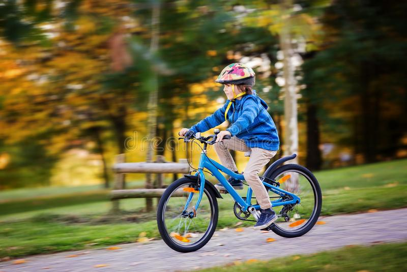 Nettes Kind, Jungenreitfahrrad im Herbstpark, Nachmittag lizenzfreie stockfotos