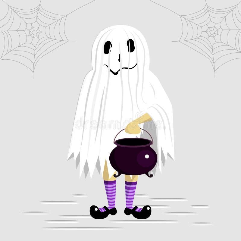 Nettes Kind trägt Kostüm eines Geistes stockfotografie