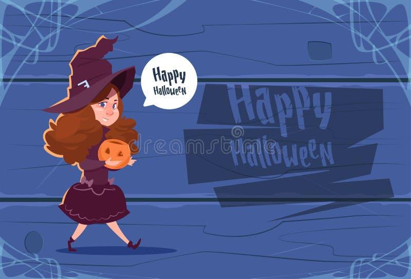 Nettes Kinderabnutzungs-Hexen-Kostüm, glückliches Halloween-Fahnen-Partei-Feier-Konzept vektor abbildung