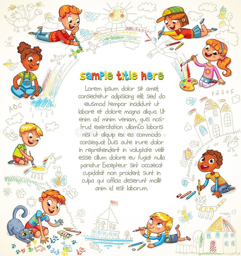Nettes Kinderfarbenbild zusammen lizenzfreie abbildung