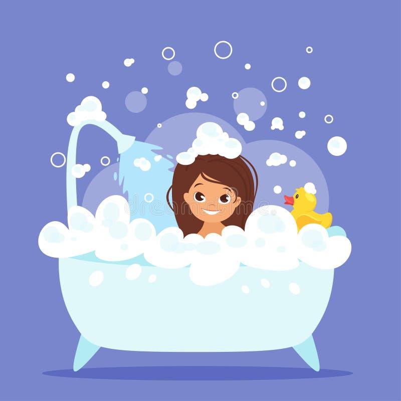 Nettes Kindermädchen, das Bad nimmt stock abbildung