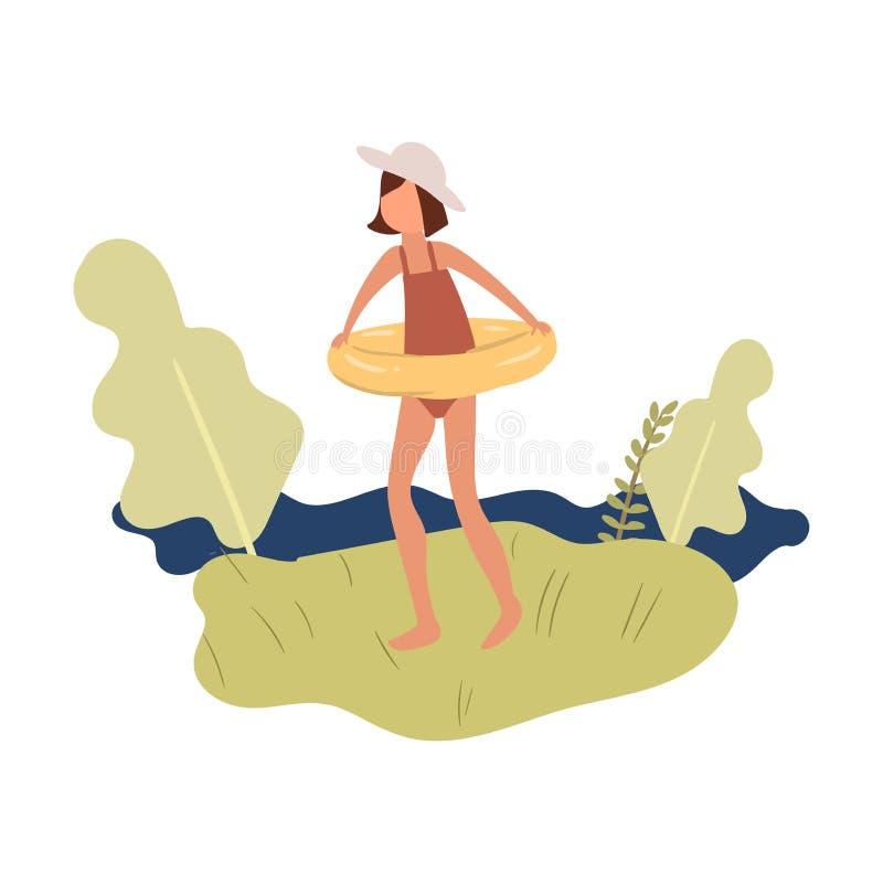 Nettes Kindermädchen in der roten Badebekleidung und aufblasbarer Ring gehen zum Schwimmen vektor abbildung