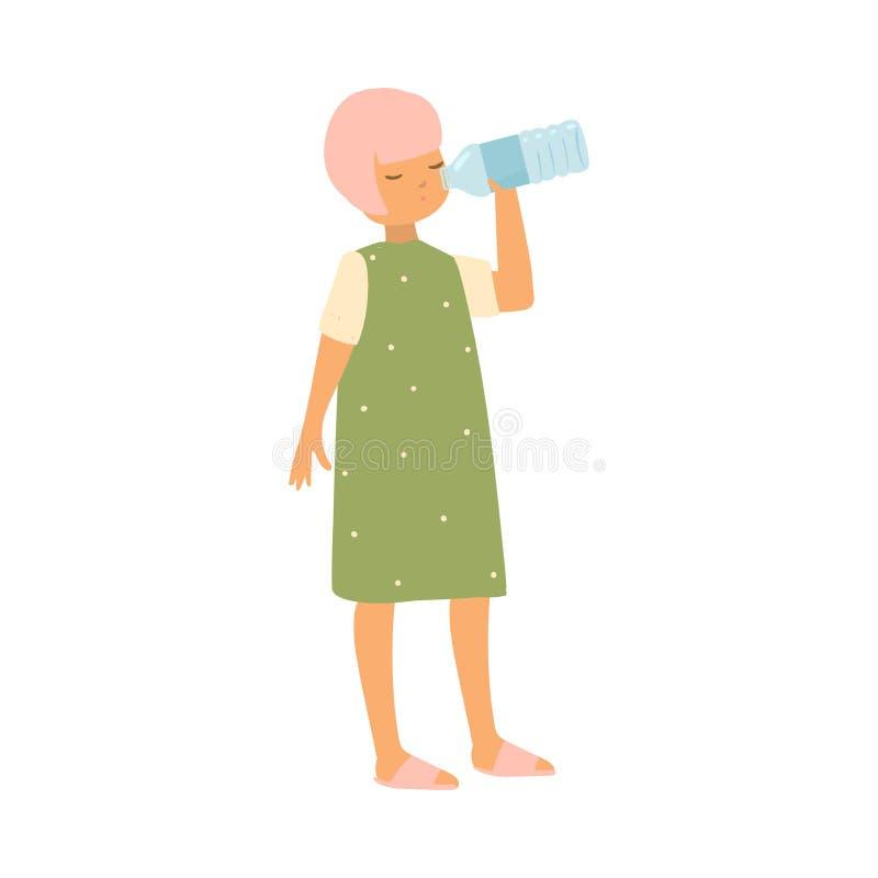 Nettes Kindermädchen mit rosa Haarfarbe und grünes Kleidertrinkwasser lizenzfreie abbildung