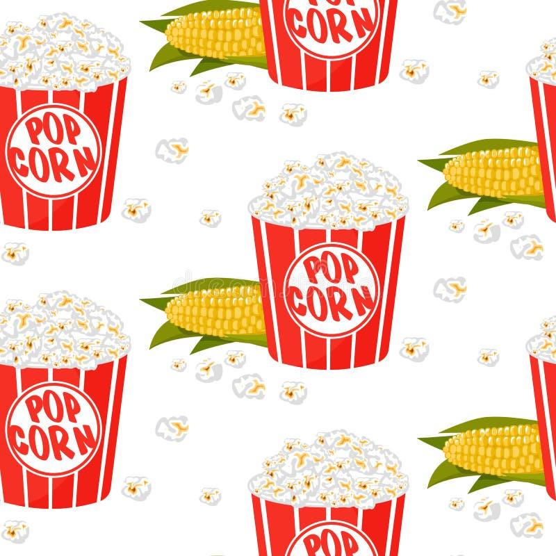 Nettes Kindermuster für Mädchen und Jungen Buntes Popcorn auf dem abstrakten Grungehintergrund eine Spaßkarikaturzeichnung herste lizenzfreie abbildung