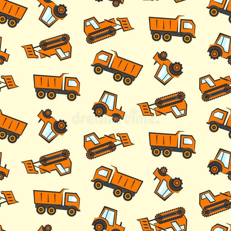 Nettes Kindermuster mit flachem orange Bulldozer, Traktor vektor abbildung