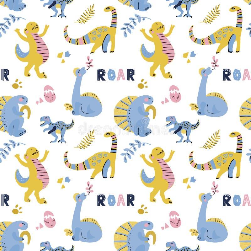 Nettes kindisches nahtloses Vektormuster mit Dinosauriern mit Eiern, Dekor und W?rtern Dino Lustige Karikatur Dino Hand gezeichne stockbilder