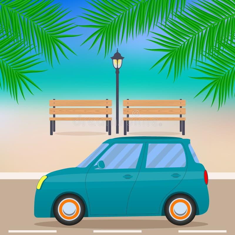 Nettes kleines Auto auf der Strandstraße, Niederlassungen von Palmen, Bänke, Straßenlaterne Auch im corel abgehobenen Betrag vektor abbildung