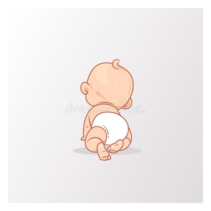 Nettes kleines Baby beim Windelkriechen vektor abbildung