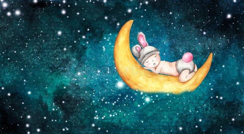 Nettes kleines Baby, das auf dem Mond schläft Schlafennettes Häschen stock abbildung