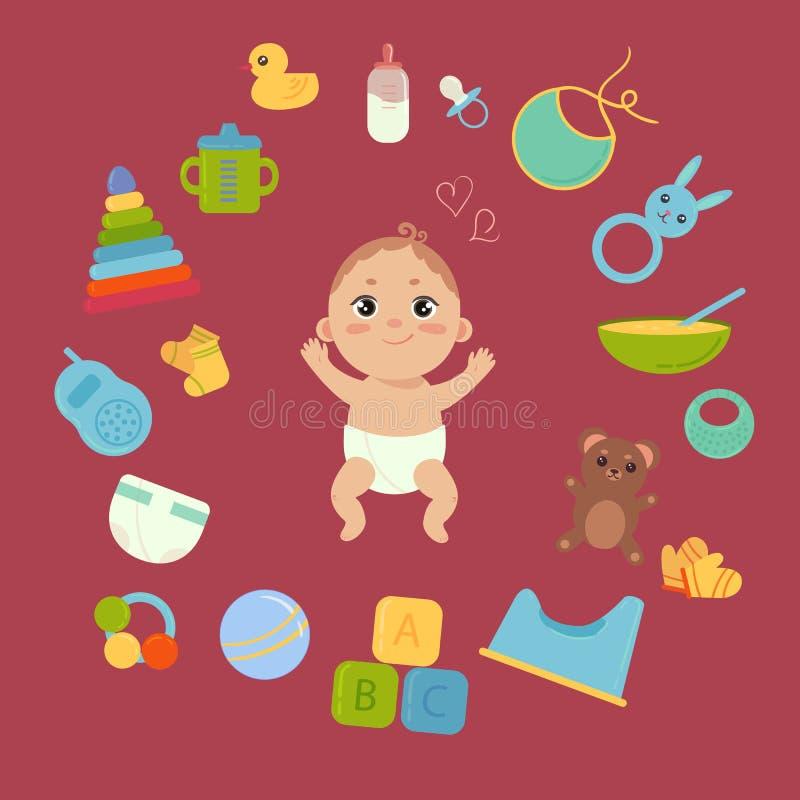 Nettes kleines Baby in der Windel mit neugeborenen Wesensmerkmalen vektor abbildung