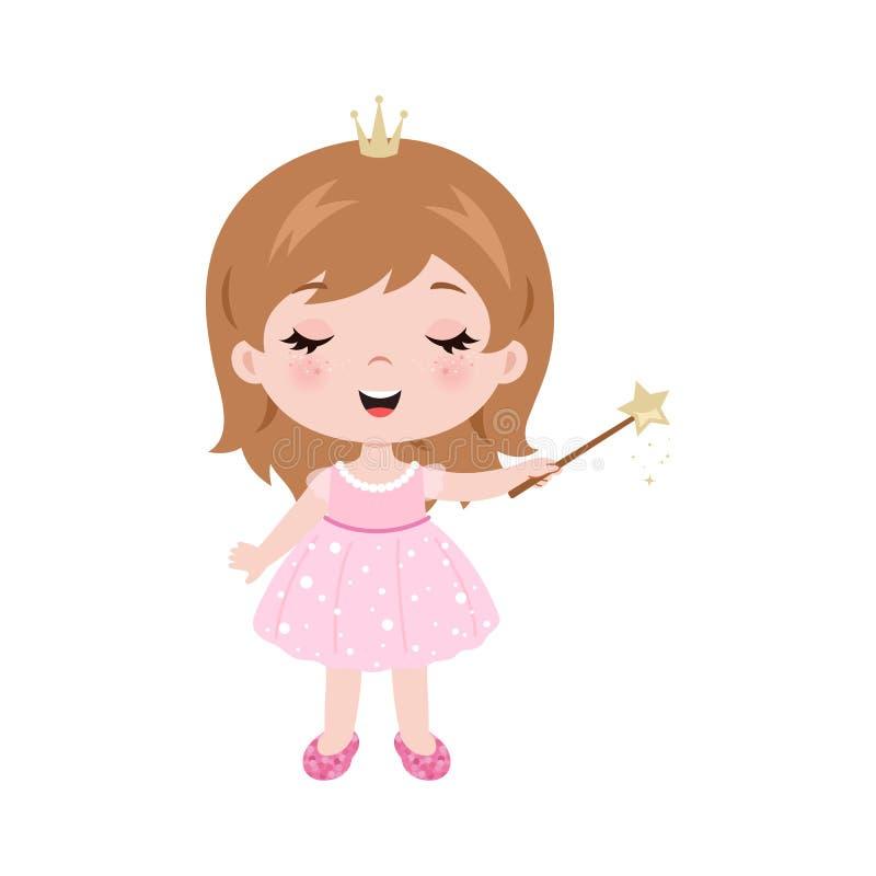 Nettes kleines Baby des Vektors gekleidet als Prinzessin Baby, das magischen Stab hält Kleines Baby des Vektors mit magischem Sta vektor abbildung