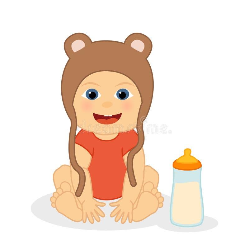 Nettes kleines Baby mit Bärnhut, Vektorzeichentrickfilm-figur vektor abbildung