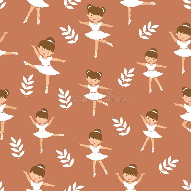 Nettes kleines Ballerinam?dchentanzen Nahtloses Muster von Zahlen in den verschiedenen Haltungen vektor abbildung