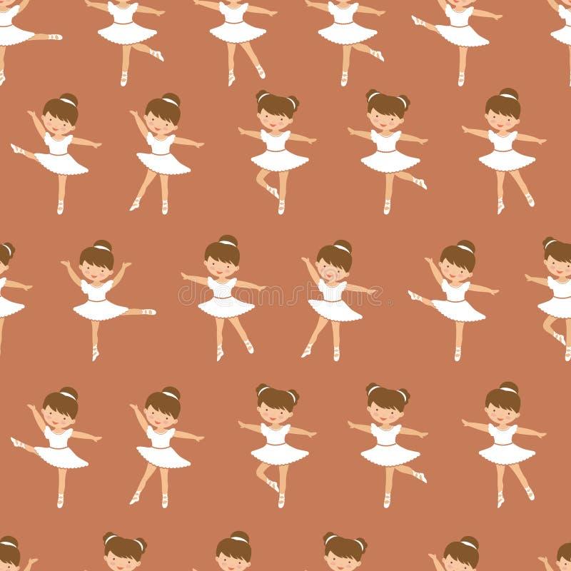 Nettes kleines Ballerinam?dchentanzen Nahtloses Muster von Zahlen in den verschiedenen Haltungen lizenzfreie abbildung