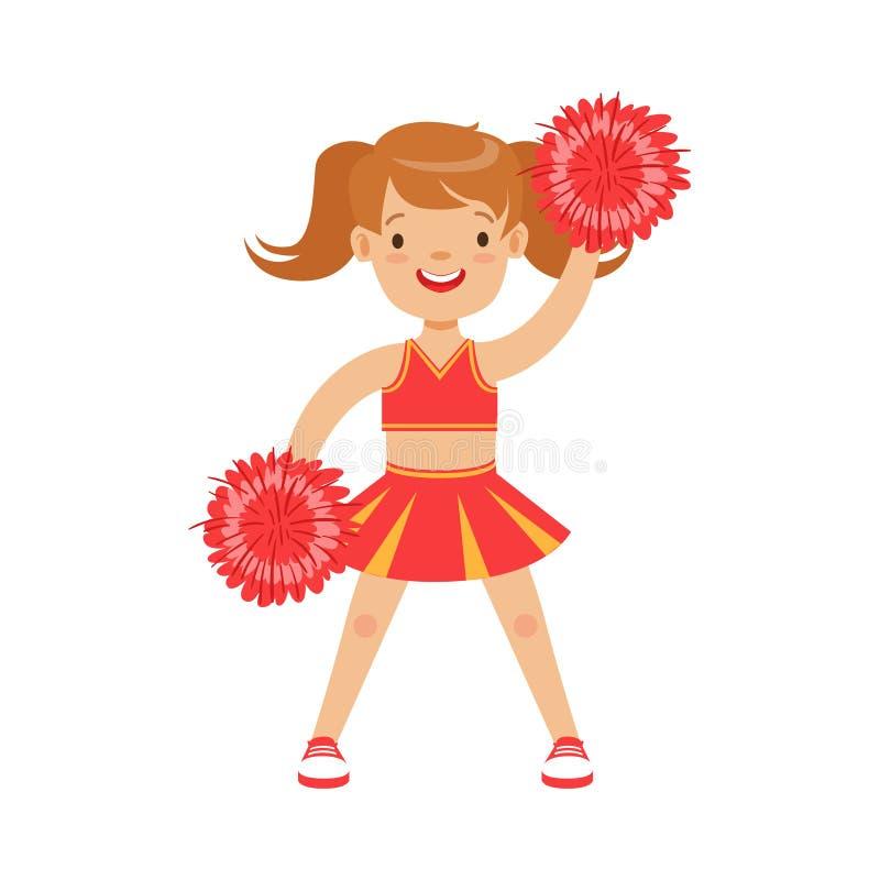 Nettes kleines Cheerleadermädchentanzen mit roten Pompoms Bunte Zeichentrickfilm-Figur-Vektor Illustration stock abbildung
