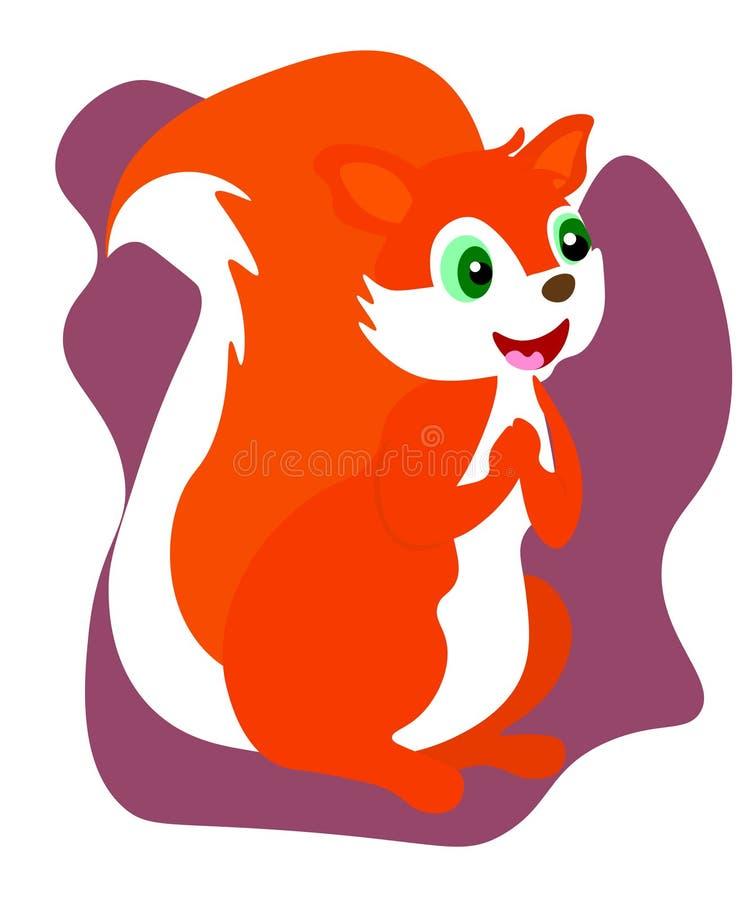 Nettes kleines Eichhörnchen des Netzes sitzen auf Boden Karikaturtiercharakterentwurf Flache Vektor-Illustration lokalisiert auf  stock abbildung