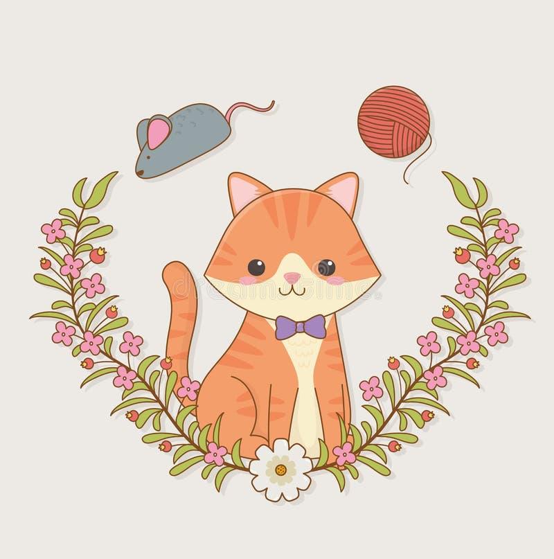 Nettes kleines Katzenmaskottchen mit Wollrolle und Mäusespielzeug lizenzfreie abbildung