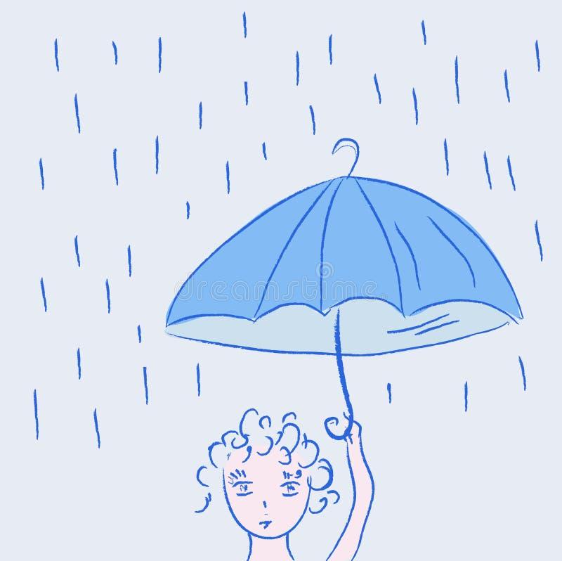 Nettes kleines Kind im Regen stock abbildung